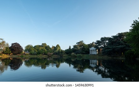 London UK, July 2019. Temple by the lake at the newly renovated Gunnersbury Park and Museum on the Gunnersbury Estate, once owned by the Rothschild family, now owned by Hounslow and Ealing Councils.