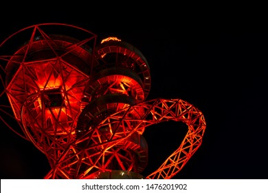 LONDON/ UK - July 20th 2019: Night view of the ArcelorMittal Orbit observation tower in Queen Elizabeth Olympic Park