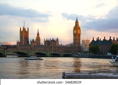 LONDON, UK - July 21, 2014: Big Ben and houses of Parliament in dusk