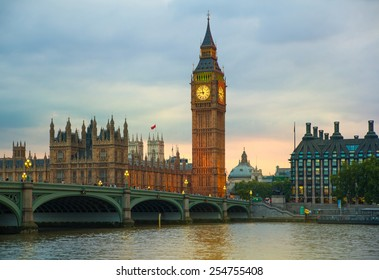 LONDON, UK - July 21, 2014: Big Ben and houses of Parliament. Thames embankment