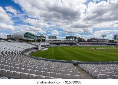 LONDON, UK - JULY 21, 2015: Lord's Cricket Ground in London, England. It is referred to as the home of cricket and is home to the world's oldest cricket museum.