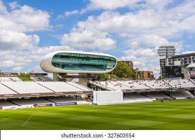 LONDON, UK - JULY 21, 2015: JP Morgan Media Center at Lord's Cricket Ground in London, England. It is referred to as the home of cricket and is home to the world's oldest cricket museum.