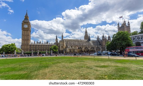 LONDON, UK - JULY 21, 2015: View of UK Parliament and Big Ben from Parliament Square in London, UK.