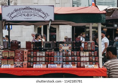 London, UK - July 21, 2018: Variety of teas on sale a market stall in Portobello Road Market, Notting Hill, London. Portobello Road is the world's largest antiques market with over 1,000 dealers.
