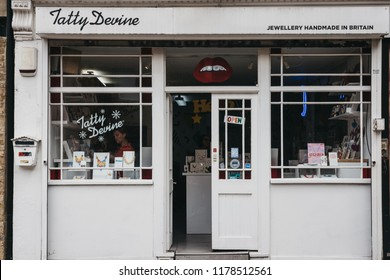 London, UK - July 22, 2018: Facade of a Tatty Devine store in Brick Lane, London. Tatty Devine is a British independent brand selling fashion-forward jewellery made from perspex, wood and fabric.
