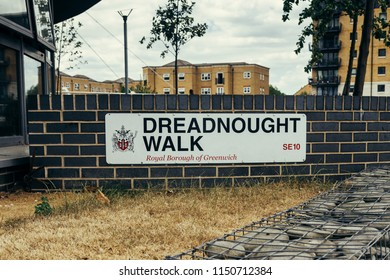 London, UK - July 23, 2018: Dreadnought Walk street sign, Royal Borough of Greenwich, London, UK