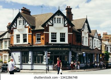London, UK - July 23, 2018: Greenwich Tavern on the King William Walk in Greenwich, London