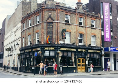 London, UK - July 23, 2018: Ye Olde Rose and Crown pub next to the Greenwich Theatre in Greenwich, South East London.