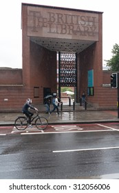 LONDON, UK - JULY 24, 2015: Gate of British Library, designed by Colin Wilson, in a rainy day.