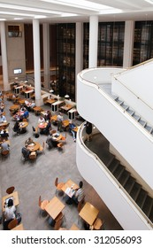 LONDON, UK - JULY 24, 2015 - Interior of British Library, the national library of UK, designed by Colin Wilson.