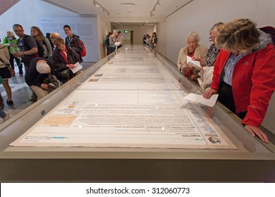 LONDON, UK - JULY 24, 2015 - Magna Carta Embroidery by Cornelia Parker at the British Library.