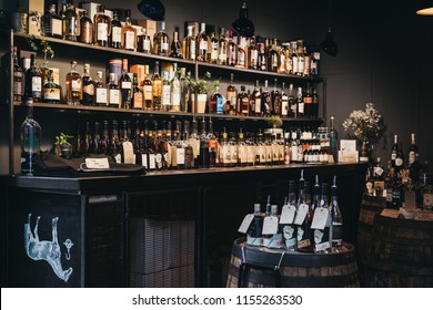 London, UK - July 24, 2018: East London Liquor Company stand at Borough Market, one of the largest and oldest food markets in London.