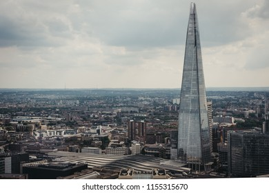 London, UK - July 24, 2018: Aerial view of London skyline and the Shard, the highest building in the city.