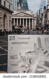 London, UK - July 24, 2018: Close up of a metal map of Bank Junction on Jubilee Walkway, Bank of England on the background. Jubilee Walkway was open to commemorate Queen Elizabeth II silver accession.