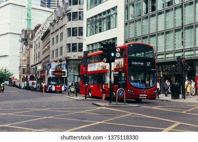 London / UK - July 24, 2018: intersection of the Gracechurch, Lombard and Fenchurch Streets in the City Of London, on a warm summer day