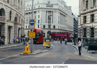London / UK - July 24, 2018: Bank junction is a major road junction in the City of London, at which nine streets converge on an area. It is named after the nearby Bank of England