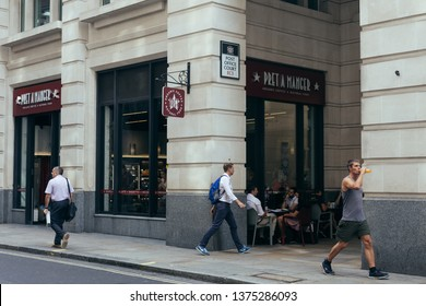 London / UK - July 24, 2018: Pret a Manger cafe on the Lampard Street. It is an international sandwich shop chain based in the United Kingdom