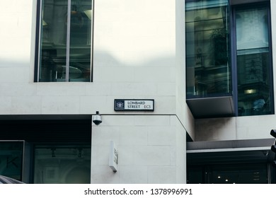 London / UK - July 24, 2018: Lombard Street name sign. It is a street notable for its connections with the City of London's merchant, banking and insurance industries.