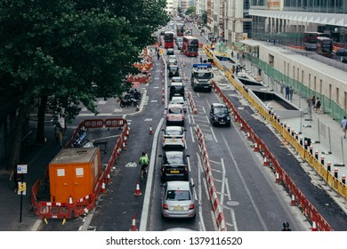London, UK - July 24, 2018: maintenance work on the Farringdon Street in Holborn. Despite all the measures, traffic speeds in central London became progressively slower for the last decades