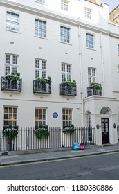 LONDON, UK - JULY 25, 2017: Historic home of the sculptor Sir Richard Westmacott (1775 - 1856) in South Audley Street in the wealthy district of Mayfair, London.