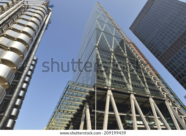 LONDON UK, JULY 26, 2014: Leadenhall Building in construction in London, UK. Roger Stirk Harbour + Partners (Richard Rogers) designed building (the Cheesegrater) completion due August 2014.