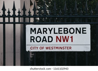 London, UK - July 26, 2018: Marylebone Road street name sign on a fence in the City of Westminster, London borough which occupies much of the central area of Greater London and also holds city status.