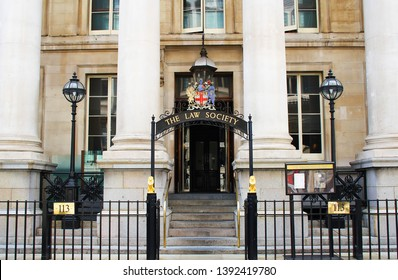 London, UK - July 27, 2018: Entrance gate of the Law Society of England and Wales, the independent professional body of solicitors in England and Wales