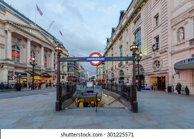 London, UK - July 28, 2015 - A london underground tube station sign on July 28, 2015 in London, England. London's underground railway is the oldest in the world, dating back to 1863.