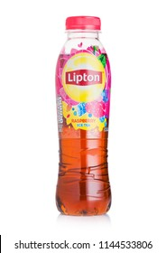 LONDON, UK - JULY 28, 2018: Plastic bottle of Lipton ice tea with raspberry flavour on white background.