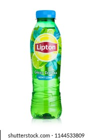 LONDON, UK - JULY 28, 2018: Plastic bottle of Lipton ice tea with green mint lime flavour on white background.