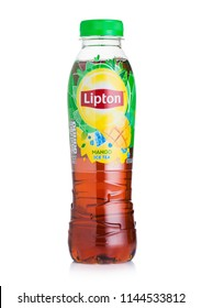 LONDON, UK - JULY 28, 2018: Plastic bottle of Lipton ice tea with mango flavour on white background.