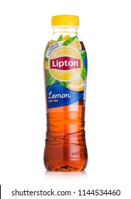 LONDON, UK - JULY 28, 2018: Plastic bottle of Lipton ice tea with lemon flavour on white background.