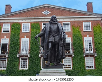 London, UK - July 29, 2013:   Statue of statesman and author Francis Bacon, in the courtyard of Gray's Inn, where he was educated as a barrister.