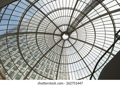 LONDON, UK - JULY 3, 2014: Modern glass architecture of Canary Wharf bunnies district. Shopping mall