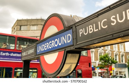 LONDON, UK - JULY 3, 2015: Westminster underground tube station on July 3, 2015 in London, England. London's underground railway is the oldest in the world, dating back to 1863