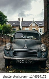 London, UK - July 30, 2018: front view of the Morris Minor 1000. The Morris Minor was one of the most popular cars from Morris