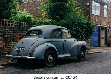 London, UK - July 30, 2018: Morris Minor 1000 on the street of London, England. The Morris Minor was one of the most popular cars from Morris