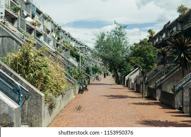 London, UK - July 30, 2018: Rowley Way terraced apartments, London Borough of Camden, UK