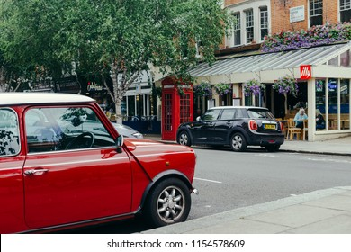 London, UK - July 30, 2018: cars, parked near Le Cochonnet eatery on the Lauderdale Road in Maida Vale District, City of Westminster, London, UK