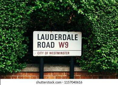 London, UK - July 30, 2018: Lauderdale Road street sign, Maida Vale District, City of Westminster, London, UK
