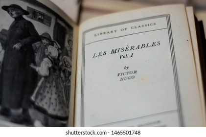 London, UK, July 30, 2019: Close up of 'Les Miserables' old book by Victor Hugo