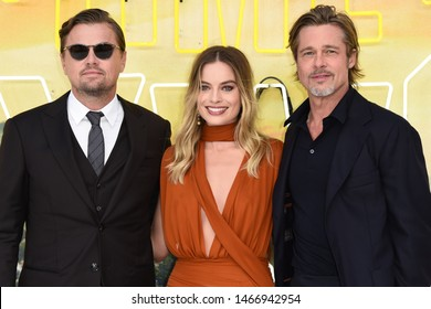 """LONDON, UK. July 30, 2019: Leonardo DiCaprio, Margot Robbie & Brad Pitt at the UK premiere for """"Once Upon A Time In Hollywood"""" in Leicester Square, London.Picture: Steve Vas/Featureflash"""