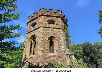 London / UK - July 30 2020: Gunnersbury Park Gothic Boathouse, Potomac Lake in Hounslow, West London