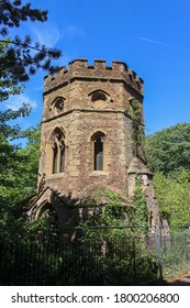 London / UK - July 30 2020: Gunnersbury Park Gothic Tower Ruins in Hounslow, West London