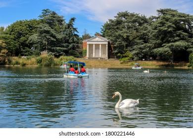 London / UK - July 30 2020: Gunnersbury Park Boating Lake, West London