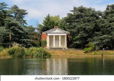 London / UK - July 30 2020: Gunnersbury Park 18th century lakeside temple, West London