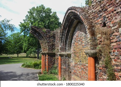London / UK - July 30 2020: Gothic arch ruins in Gunnersbury Park, West London