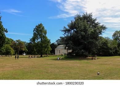 London / UK - July 30 2020: Rear View of Gunnersbury Park Orangery