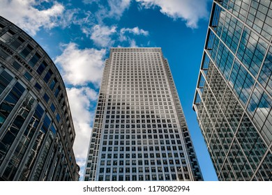 London, UK - July 31 2018: Illustrative editorial of One Canada Building, Thomson Reuters Building and Citigroup Center in Canary Wharf, London, England