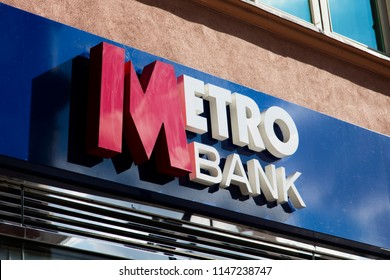 LONDON, UK - JULY 31th 2018: Metro bank shop signage in central London. Metro bank was founded in 2010